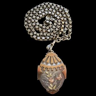 Unusual Victorian Silver Locket & Chain