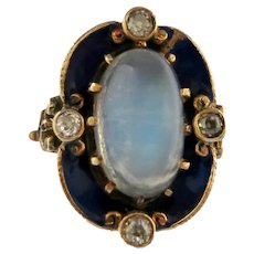 Art Nouveau Moonstone, Enamel & Diamond Ring