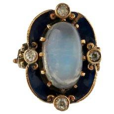 Art Nouveau Moonstone, Enamel & Diamond Ring