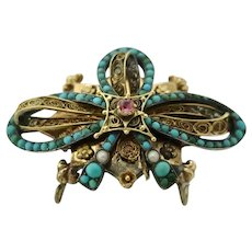 Edwardian 18K Filligree Gold & Silver Brooch/Pendant