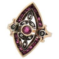 Divine Deco Ruby & Diamond Ring