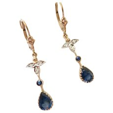 Lovely Sapphire & Diamond Dangle Earrings