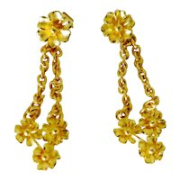 "Delightful Vintage "" Dangles "" in High Carat Yellow Gold"