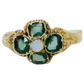 Vivid green Tourmalines in A Ring of 12K Gold