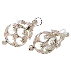 Charming Vintage Estate White Gold & Diamond Earrings