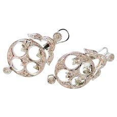 Charming Vintage Estate White Gold & Diamond Earrings