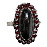 Mid Century Garnet Cluster Ring in Silver Mounting
