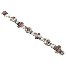 Outstanding Victorian Scottish Silver & agate Bracelet