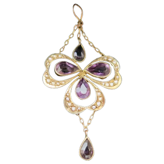 Antique Edwardian 15K Pendant Featuring Amethysts & Pearls