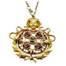 Exciting Art Nouveau Medusa Snake Brooch/Pendant