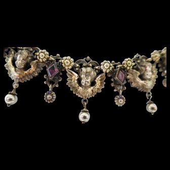 Delightful Vintage Silver & Garnet Necklace & Earrings