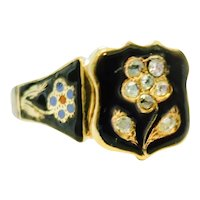 Victorian Rose Cut Diamond & Enamel Mourning Ring
