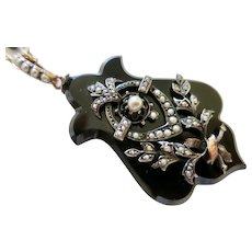 Victorian Carved Onyx & Seed Pearl Necklace & Chain