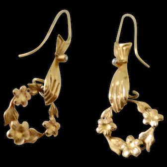 Antique 9K Earrings--Hands Holding Wreaths