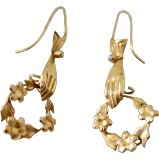 Antique 9K Earrings--Hands Holding Wreaths