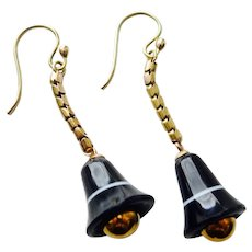 Playful Victorian Agate Bell earrings