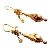 Charming Georgian Filigree Dangle Earrings