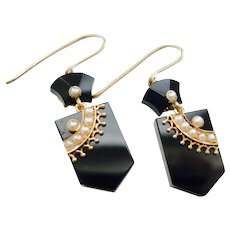 Fine Victorian Gold Onyx and Pearl Earrings