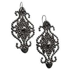 Striking Antique Cut Steel Earrings