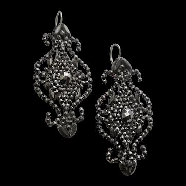 Striking Antique Cut Steel Earrings