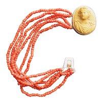 Unusual Antique Coral & Cameo Bracelet