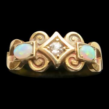 Fine Victorian Opal & Diamond Ring
