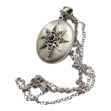 Victorian Silver Banded Agate Mourning Locket