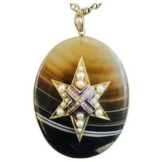 Victorian Banded Agate Star Pendant