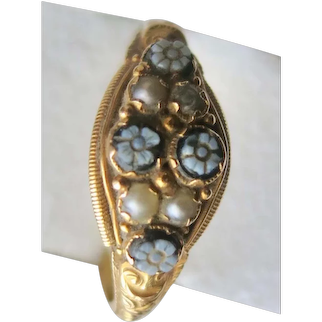 English Victorian Carved Cameo Cluster Ring