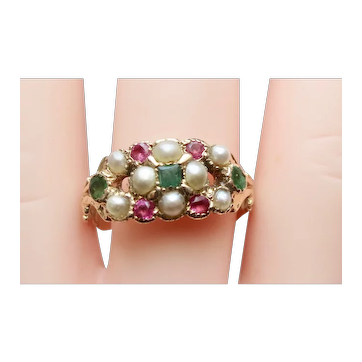 English Victorian Gold, Emerald, Ruby & Pearl Cluster Ring