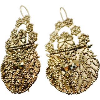 Exrtraordinary Victorian Cut Steel Earrings