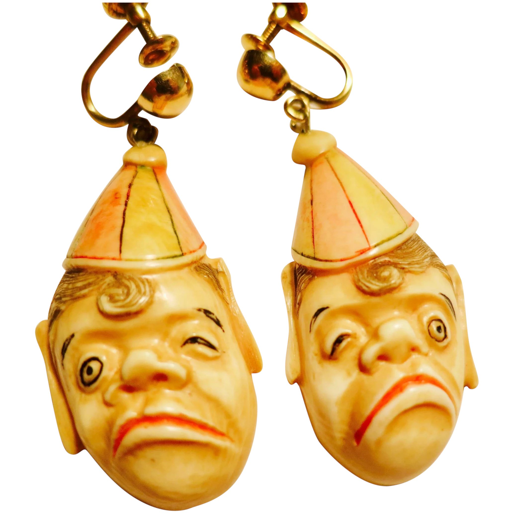 Delightful Curiosity Carved Bone Earrings The Pearl Antiques Ruby Lane