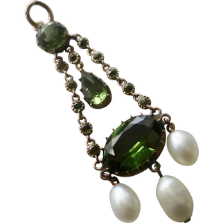 Victorian Peridot and Pearl Pendant