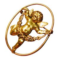Joyful Victorian Sterling Cherub Brooch