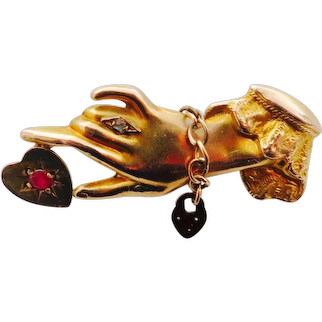 Wonderful Victorian Hand Holding A Ruby