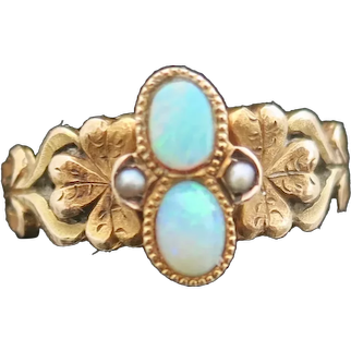 Art Nouveau Opal & Seed Pearl Ring