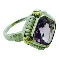 Art Deco Amethyst & Seed Pearl Ring