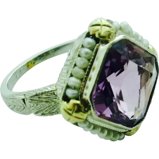 Art Deco Amethyst & Seed Pearl Ring