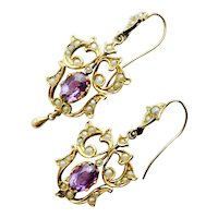 Delightful Art Nouveau Amethyst & Pearl Earrings