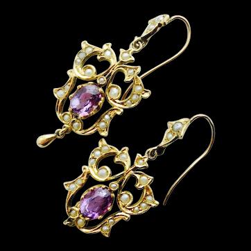 Delightful Art Nouveau Amethyst & Pearl Earrings