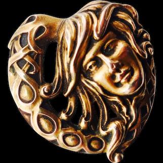 Art Nouveau 14K Watch Pin
