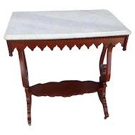 Mahogany Gothic Marble Top Table mid 19th Century