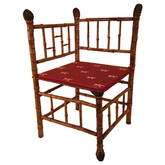 Square corner faux bamboo upholstered chair c, 1880.