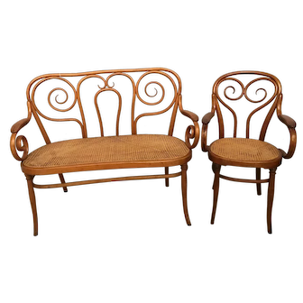 New England Bentwood settee and arm chair c.1880