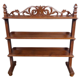 American Walnut Carved Etagere