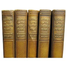 History Of The American People, 1931 Set Of 5 Volumes, Leather Bound Books