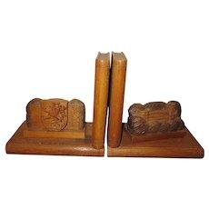 Vintage Heidelberg Germany Carved Wooden Bookends Castle Crest 1947