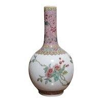 Famille Rose Enamel Mid 19th Century Bottle Vase Chinese
