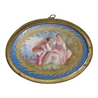 Sevres French Porcelain Plaque Hand Painted Romantic Couple