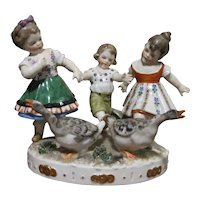 European Porcelain Children At Play With Geese Figurine